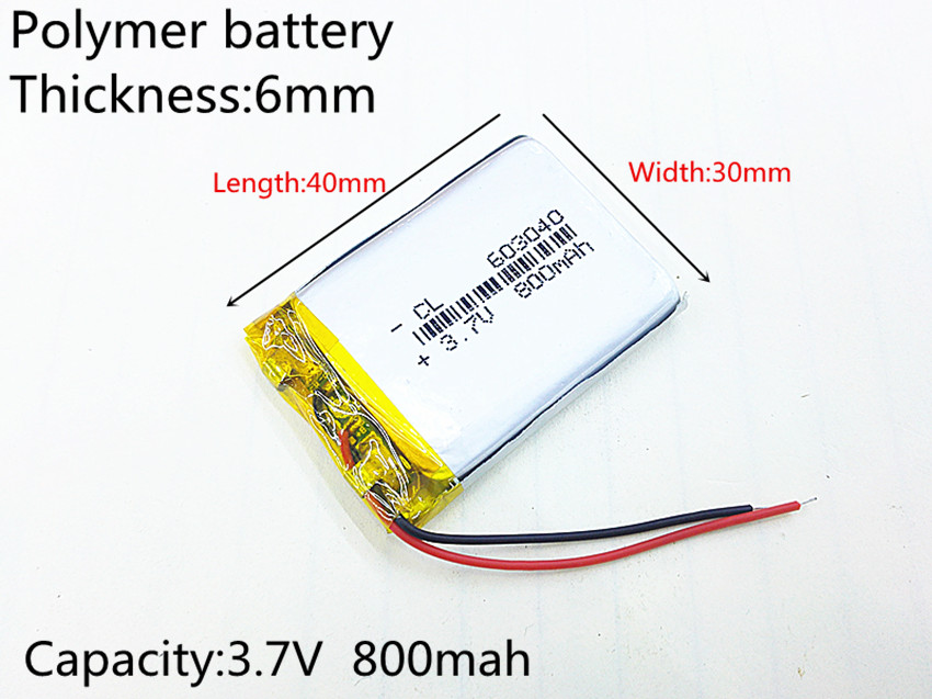 Liter energy battery 3.7V lithium polymer rechargeable battery 800mAh 063040 GPS navigator MP3 Bluetooth speaker 603040 liter energy battery 3 7v polymer lithium battery 401215 mp3 mp4 60mah bluetooth headset small toy sound