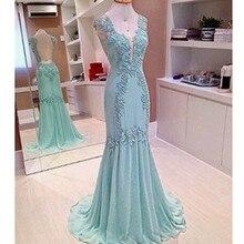 Elegante Chiffon V-ausschnitt Appliques Open Back Abendkleider Sleeveless Nixe Mutter der Braut-outfits Online Vestido