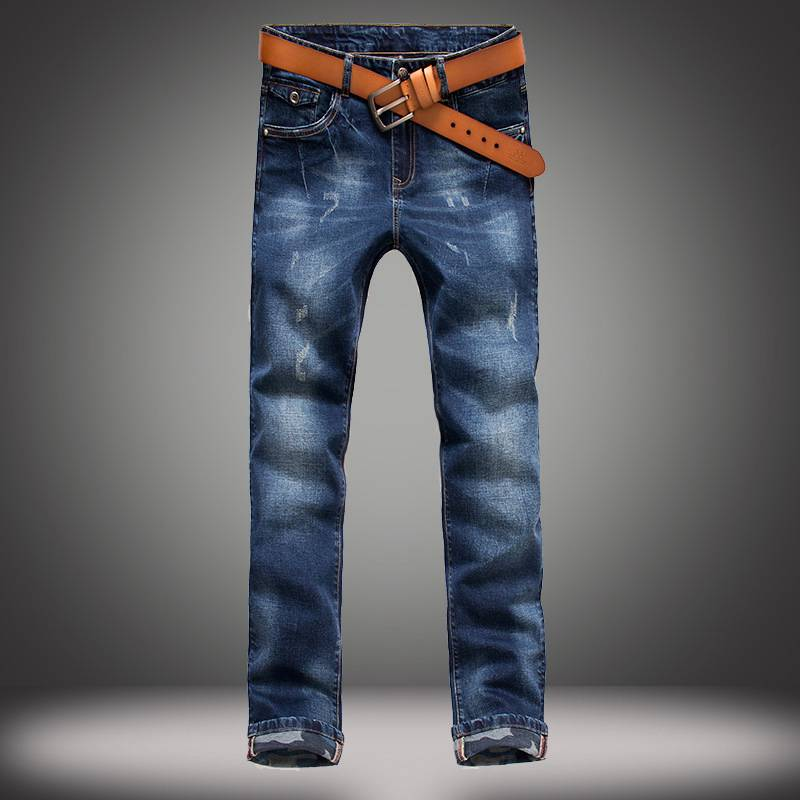 ФОТО Biker Jeans Men Brand Designer Slim Fit Denim Pants with Camouflage Cuffs Blue Long Trousers Amercian Europeans Style Joggers