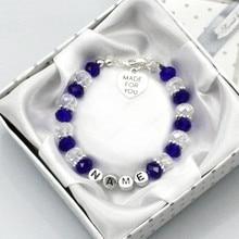 Personalised Bridesmaid Bride Wedding Flower Girl Birthday Gift Charm Bracelet with box blue