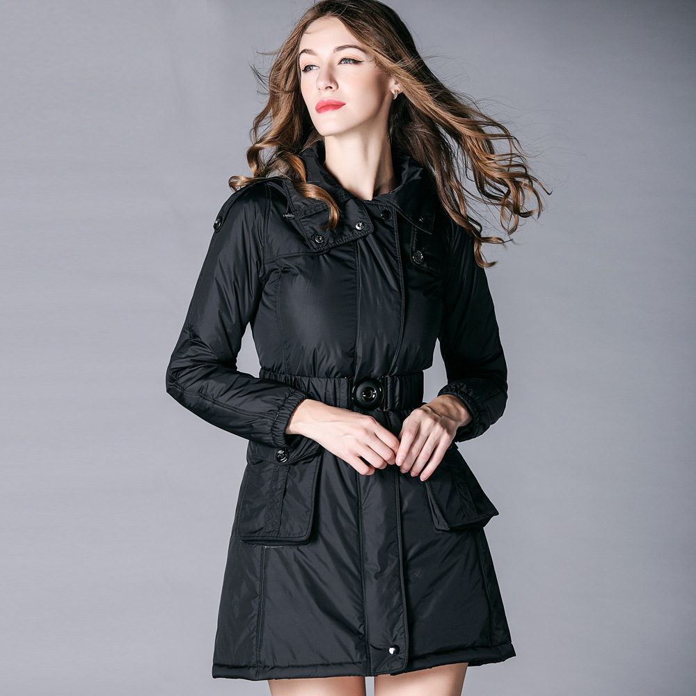 Outwear Capuchon pourpre Hiver Long À Xxl Qualité Casual Manteau Au Plus Femmes Haute Noir Burdully Veste Noir Garder 2018 Taille Dames Solide Chaud Filles gPOwYF