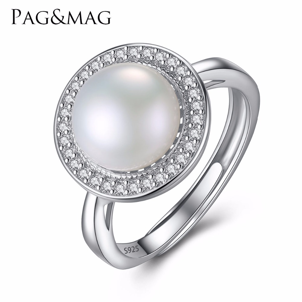 PAG & MAG Märke Classic Round Disk 925 Sterling Silver Smycken En Stor 9-9.5mm Färskvatten Natural Pearl Women Wedding Ring Hot001