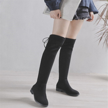 JIANBUDAN/ Womens sexy thigh high boots Autumn fashion stretch Flat bottom winter Over the knee 34-43