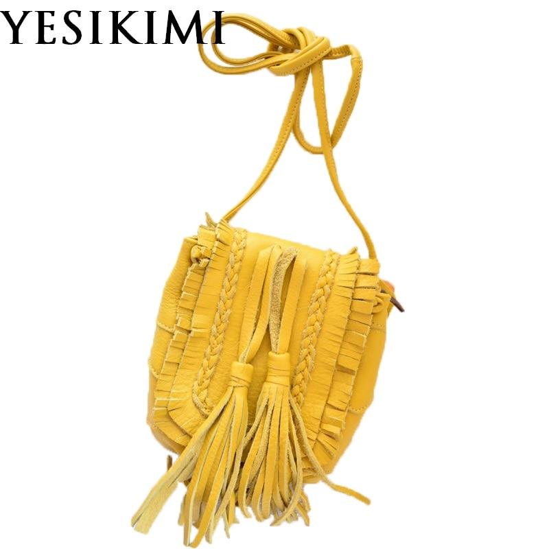Handmade Women Saddle Bag Genuine Leather Vintage Bohemia Tassel Bolsas Female Messenger Bags Small Purse Litchi Cow Leather