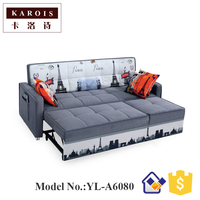 New Fabric Sofa Bed Collapsible Telescopic Multi Function Push Pull Daybed Three Bit Small Apartment Washable