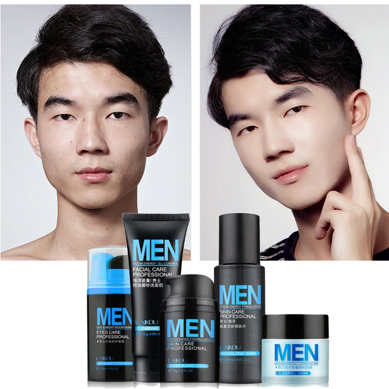 גברים טיפוח העור קבע קרם פנים קרם עיניים סרום טיפוח העור הלבנה טיפול באקנה לחות טיפול פנים תיקון שמן 5pcs