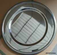 30cm*0.5mm Stainless Steel Flat Round Dish Plate/Exquisite Serving Tray/Delicate Big Fruit Plate/Platos Dorados