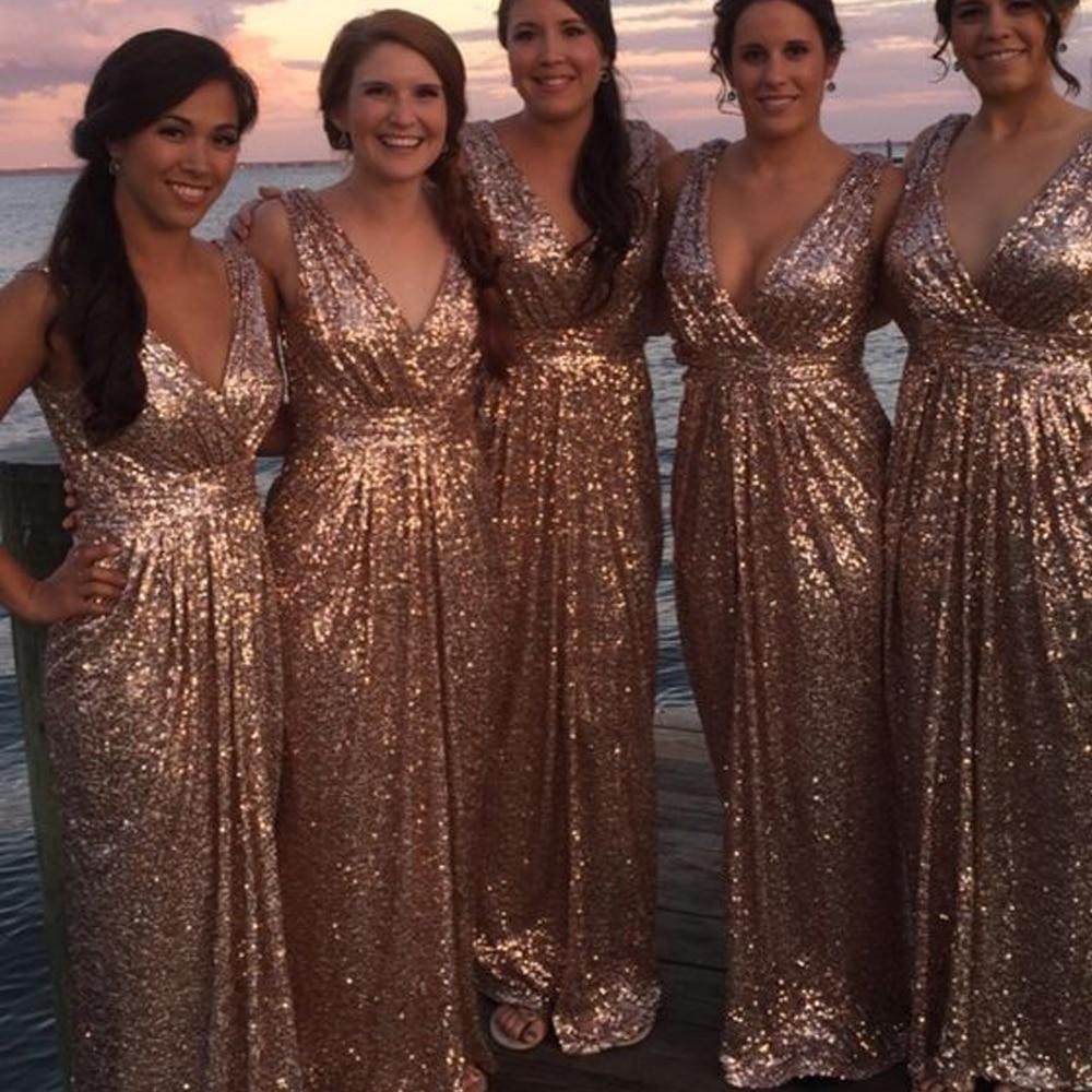 Gold Bridesmaid Dresses Sequins Bling Bling Sparkly A Line Deep V Neck Wedding Party Dresses 2019