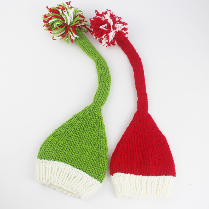 Newborn Photography Props Twins Babies Crochet Knit Infant Cotton Yarn Green Red Spikes Hat Christmas Beanies Baby Photo Props