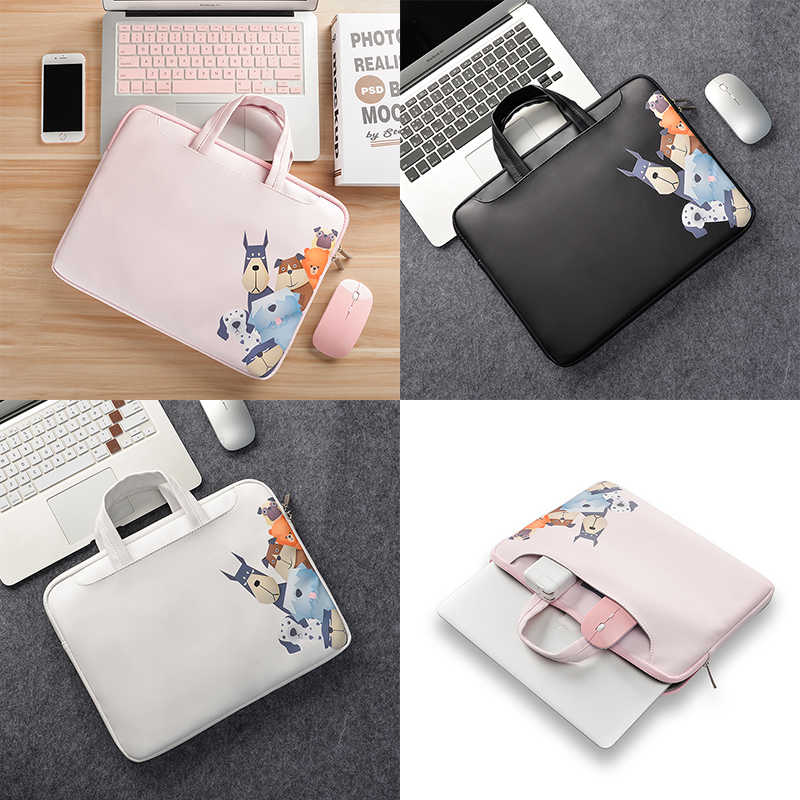 Lucu Pattem PU Kulit Tahan Air Tas Laptop 15.6 14 13.3 Laptop Sleeve Case untuk Macbook Air Pro 13 15 retina Koper Case