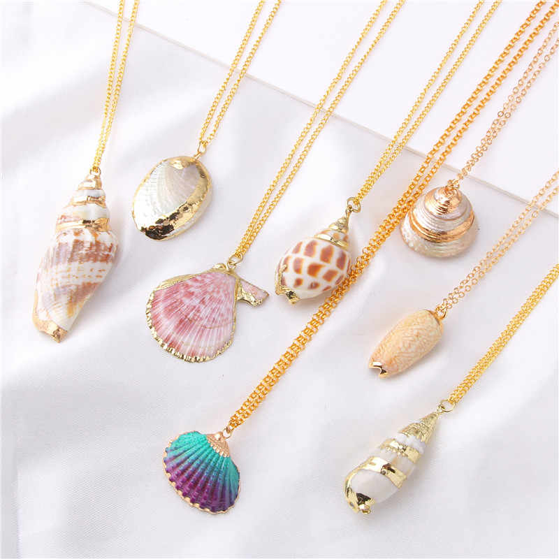 Vinswet Boho Shell Necklace Conch Sea Gold Pendants Gift For Women Ocean Cowrie Seashell Beach Summer Necklace Hawaii Jewelry