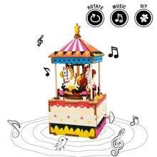 Robotime draaibare DIY Merry-go-round houten muziekdoos Clockwork Type Home Decor schoonheid cadeaus voor vrienden kinderen AM304