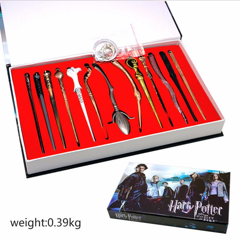 13PCS Harri Potter Magic Wand De Hermione Granger Lord Snape Elder Wizard Wand Harri Potter Weapon Keychain Necklace Cosplay Toy