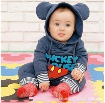 Venda quente Hoodies Bebe Macacão Outfits 2015 Nova Marca mickey Do Bebê Das Meninas do Menino Roupas 3 pçs/lote