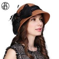 FS Felt Cloche Hat Winter Fedora Hats For Women 100% Wool Fedoras Elegant Lay Caps Wide Brim Classical Style Fieltro Mujer