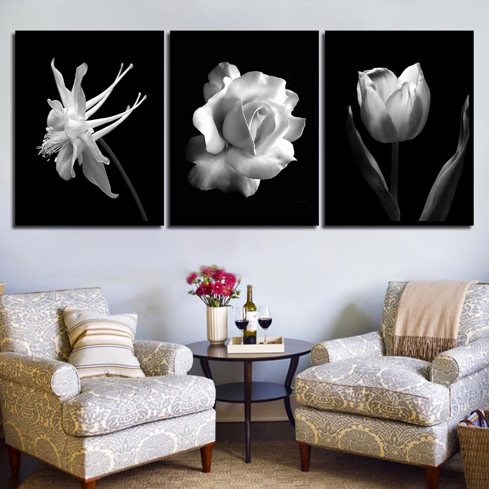 Us 1 9 40 Off Nordic Black White Abstract Flower In Blossom Poster Canvas Art Print Wall Pictures Rose Tulip Painting Scandinavian Home Decor In