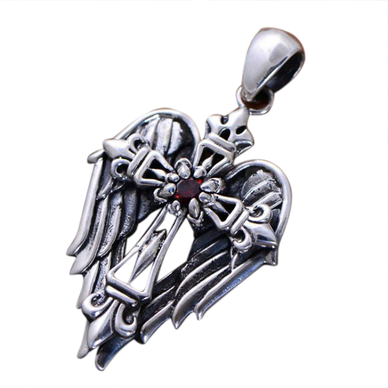 Real 925 Sterling Silver Vintage Cross Pendant With Angel Wings Male Christian Jewelry Inlaid Natural Garnet