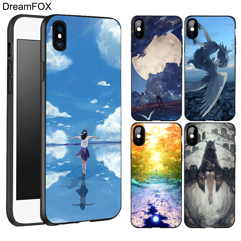 DREAMFOX L105 Anime Cartoon Characters Black Soft TPU Silicone Case Cover For Apple iPhone X 8 7 6 6S Plus 5 5S 5G SE