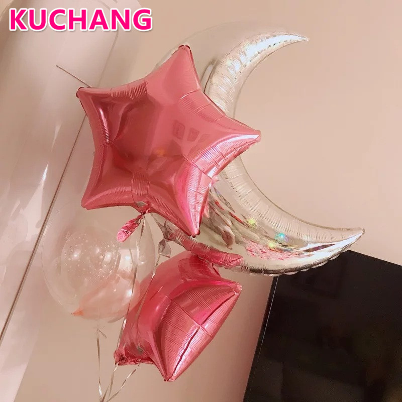 4Pcs/lot 36inch silver Big Moon pink Star Balloons bubbles birthday party baby shower new year decorations Foil Helium balls