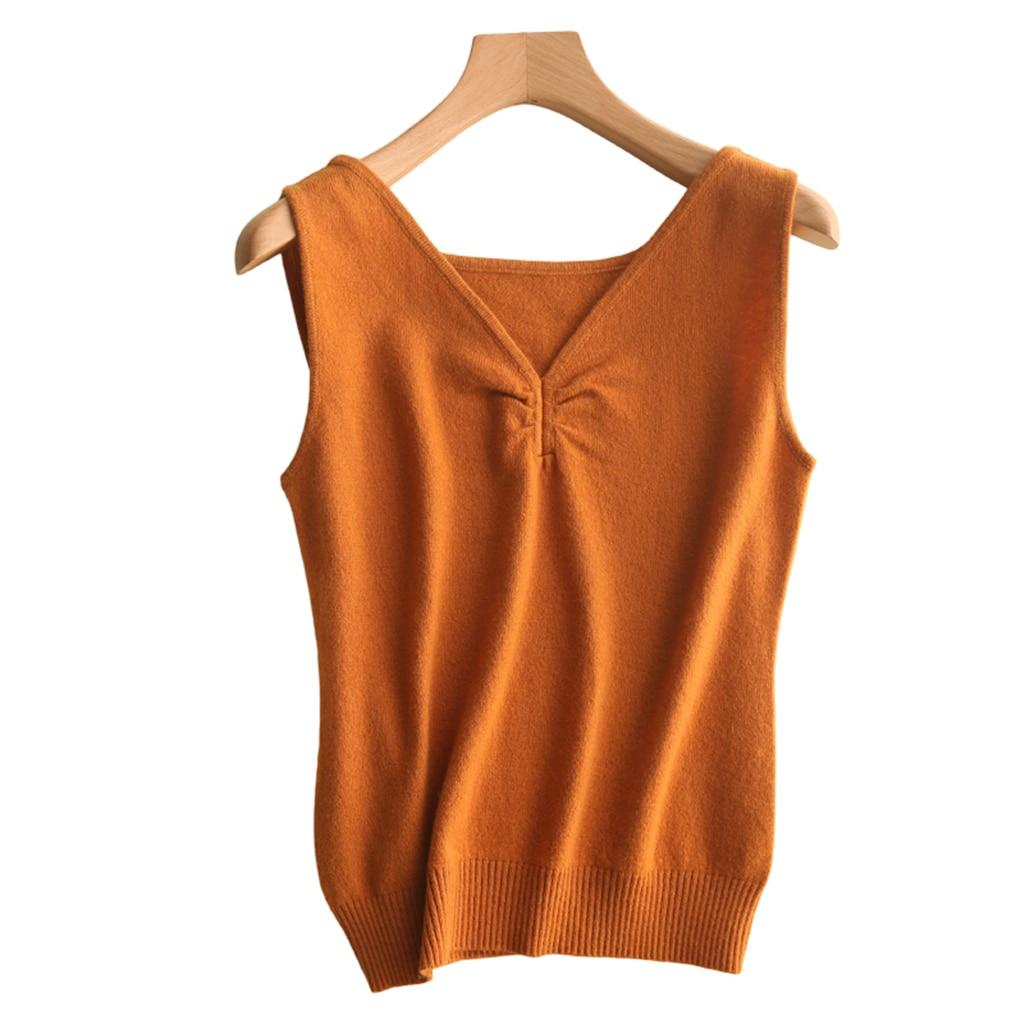Sexy automne tricoté réservoir hauts col en V cachemire laine pull gilet femme 2019 nouveau Style Sun-top sans manches doux confortable hauts