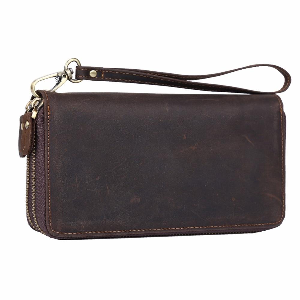 цена на TIDING 2017 large capacity leather clutch bag vintage style strap purses designer double zip around for men women 40098