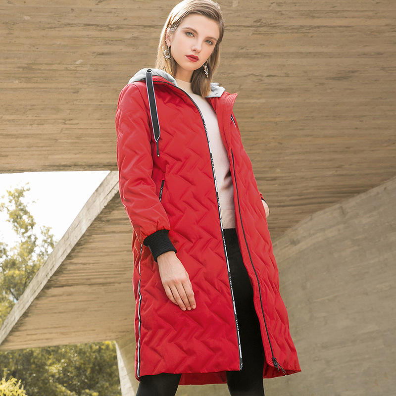 Hat detachable solid loose straight long thick white duck   down     coats   2018 new women winter   down     coats