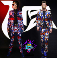 Hot New Men Brand Fashion Blazers Blue And Red Light Geometric Stretch Satin Surface Suit Singer Costumes Stage Formal Dress