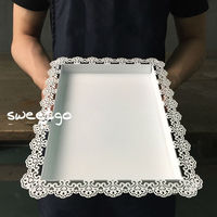 Wedding Decoration Tray Metal Iron White Rectangle Plate For Cake Tool Accessory Display Plate For Party