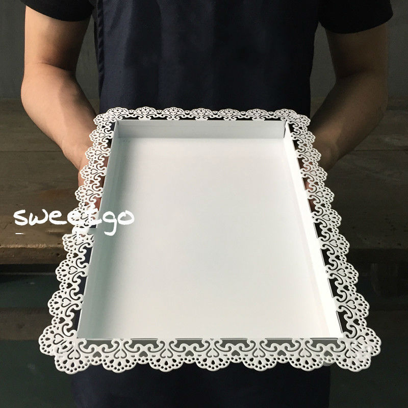 SWEETGO Wedding decoration tray metal iron white rectangle plate for cake tool accessory plate for party decoration bakeware