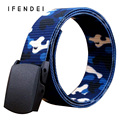 IFENDEI Luxury Designer Belts Men Plastic Buckle Canvas Belt Nylon Tactical Waist Teenager Military Training Sports Outdoor Belt