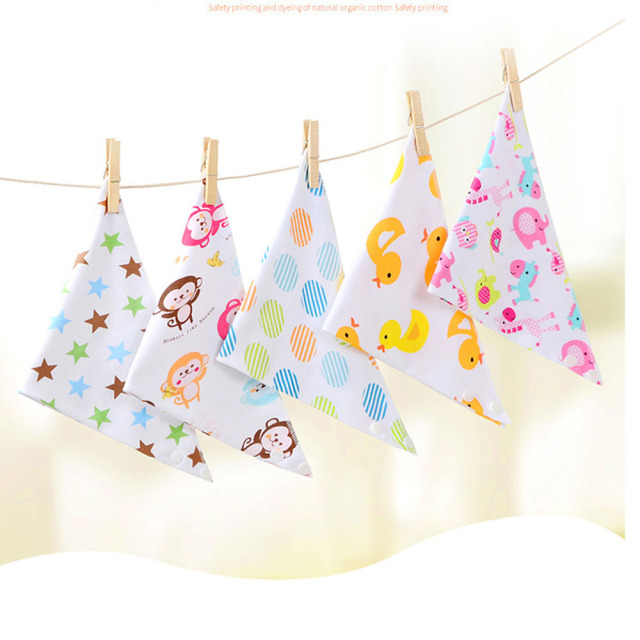 Oklady Baby Bibs Triangle Double Cotton Bibs Cartoon Print Saliva Towel Baby Boys Girls Feeding Apron Cotton Bandana Bibs