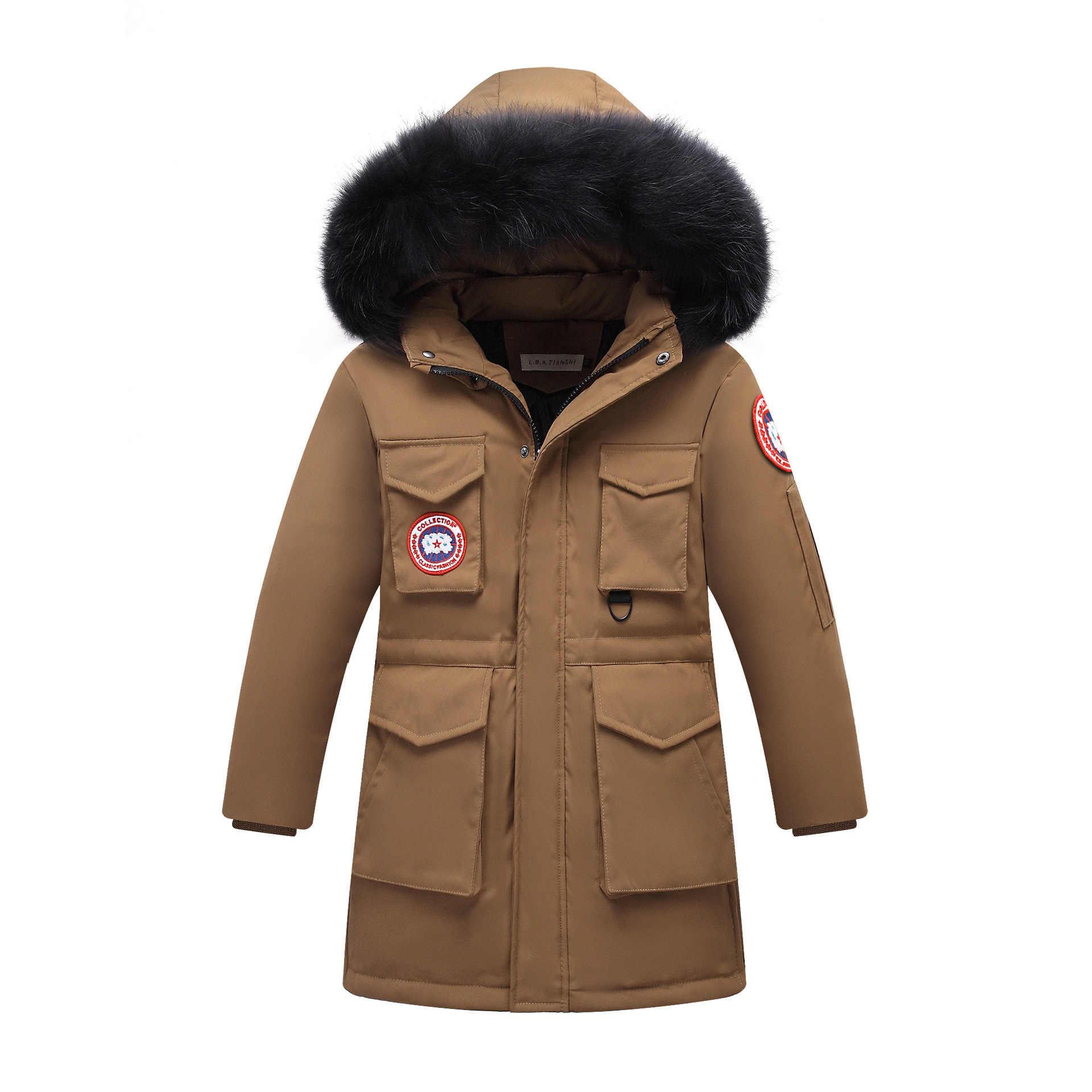 -30 grau 2019 Crianças Grosso Quentes Jaquetas de Pato Para Baixo Casaco de Inverno Menino roupas Crianças parka verdadeira Pele Com Capuz Longo outerwear snowsui