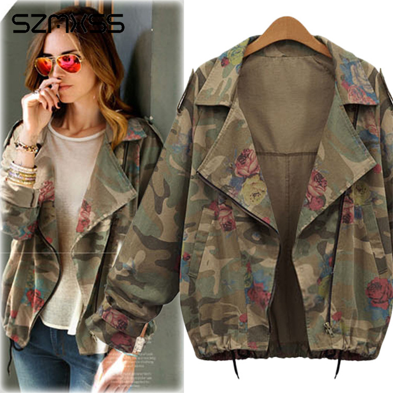 Women's   Basic     Jackets   Coats Plus Size 4XL Army Green Camouflage Coats Zip Cardigans Denim Outwear Bomber Casaco Feminino Jaqueta