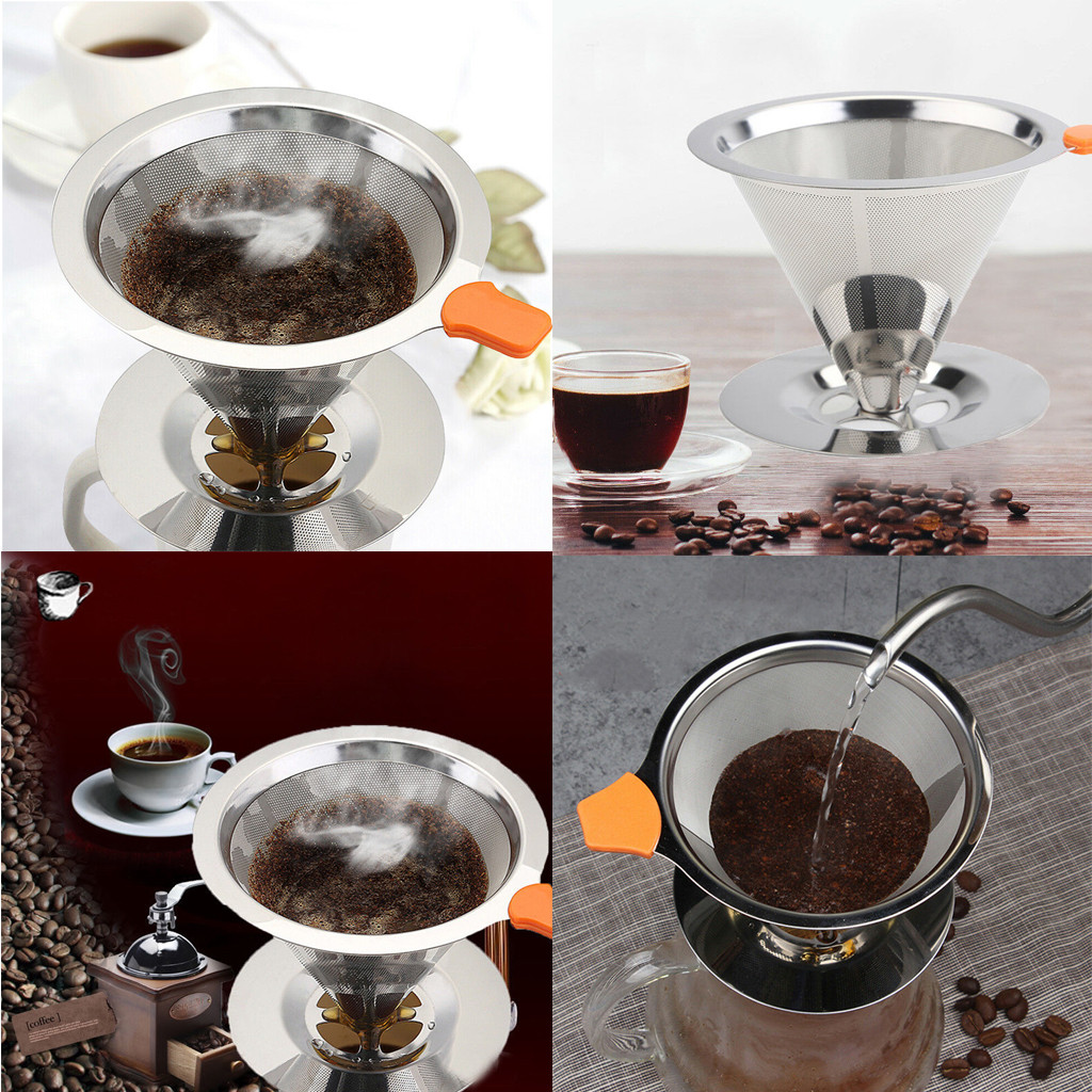HOT Stainless Steel Pour Over Cone Dripper Reusable Coffee Filter with Cup Stand Lightweight Compact Travel Size Fits #19627