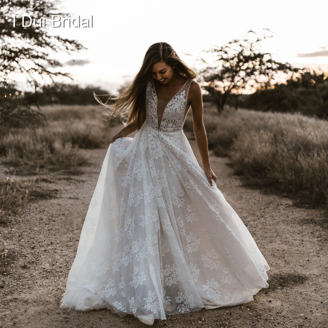 Plunging Neck Wedding Dresses Pearl Crystal Beaded Lace Bridal Gown Factory Custom Made Real Photo