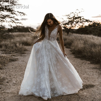 Plunging Neckline Wedding Dresses Pearl Crystal Beaded Lace Bridal Gown Factory Custom Made Real Photo