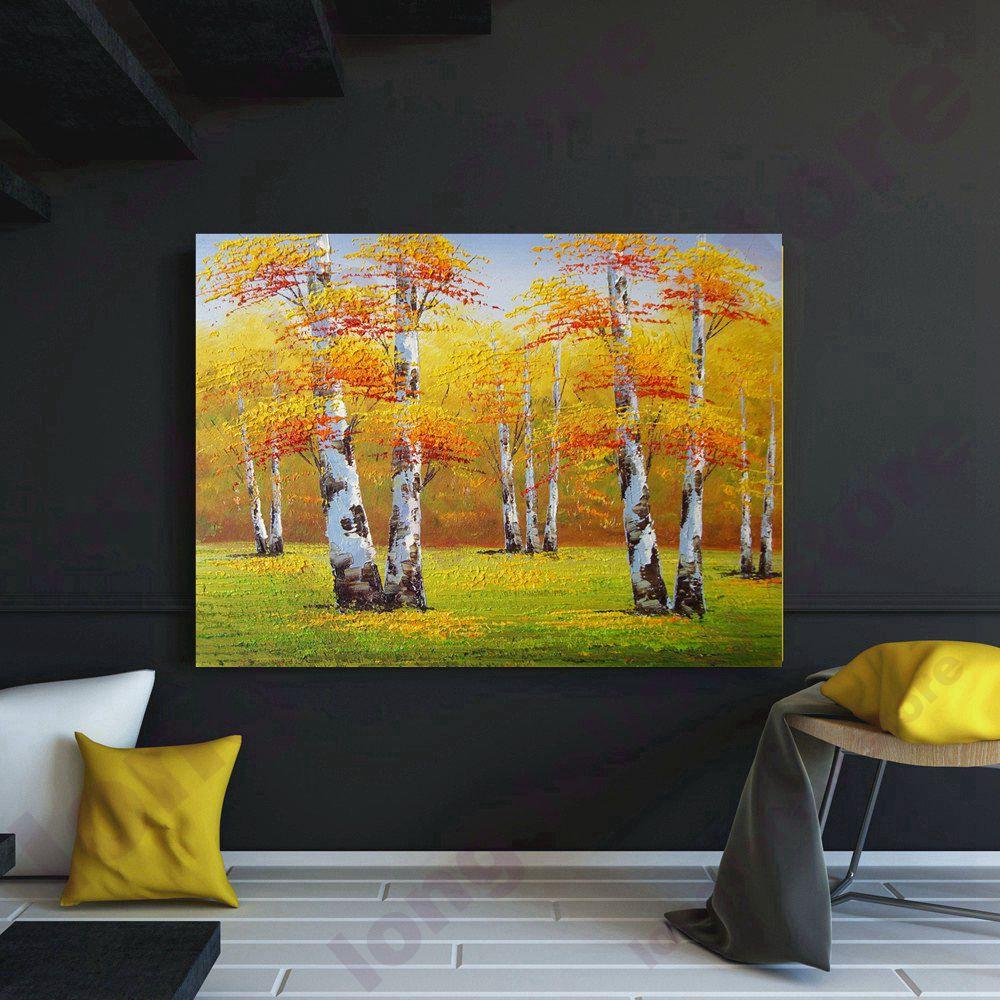 Handpaint couteau peinture jaune arbres paysage automne peinture à l'huile toile œuvre mur Art peinture pour bureau chambre Bar décor