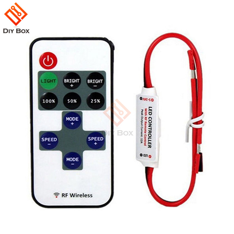 1Set <font><b>12V</b></font> RF Mini Wireless Controller Switch LED <font><b>Dimmer</b></font> with <font><b>Remote</b></font> Switch Mini In-line LED Light Controller/<font><b>Dimmer</b></font> High Quality image
