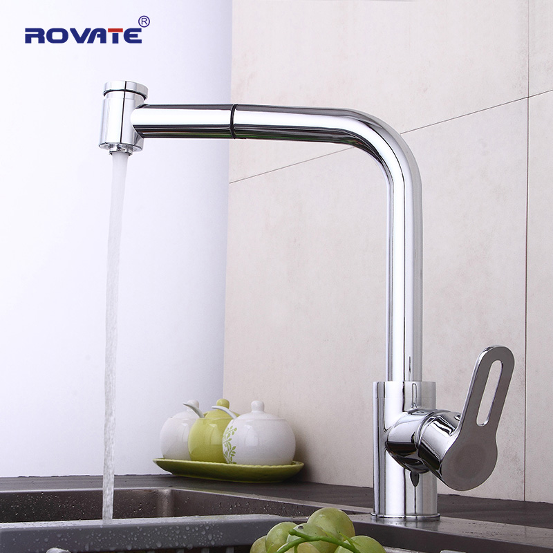 ROVATE Sink Tap 360 Swivel Spout Pull Out Kitchen Faucet Single Hole Mounted Brass Chrome s 113 modern single hole chrome swivel kitchen sink