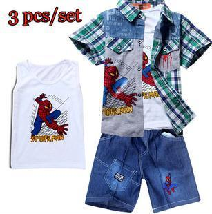 Hot spiderman children's sets 3pcs cartoon sports kids shirt + vest + jeans shorts baby boys pants suit
