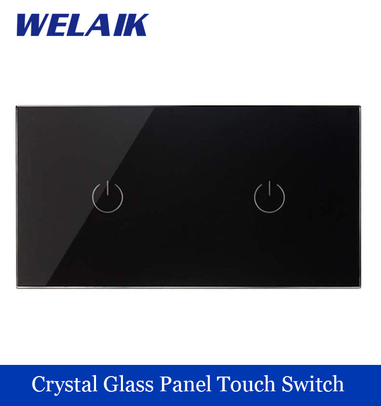 WELAIK 2 frame Crystal Glass Panel   Black Wall Switch EU Touch Switch Screen Light Switch 1gang1way AC110~250V A291111B smart home us black 1 gang touch switch screen wireless remote control wall light touch switch control with crystal glass panel