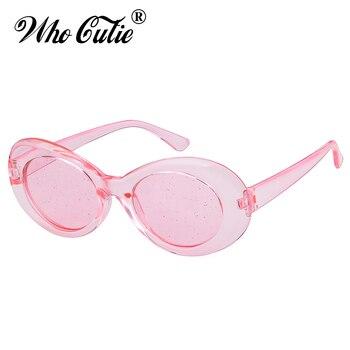 Nuevo Kurt Cobain gafas de sol hombres mujeres de diseñador de marca 2018 Vintage  Retro Rosa Oval de cristal brillo ca596c3dfb21