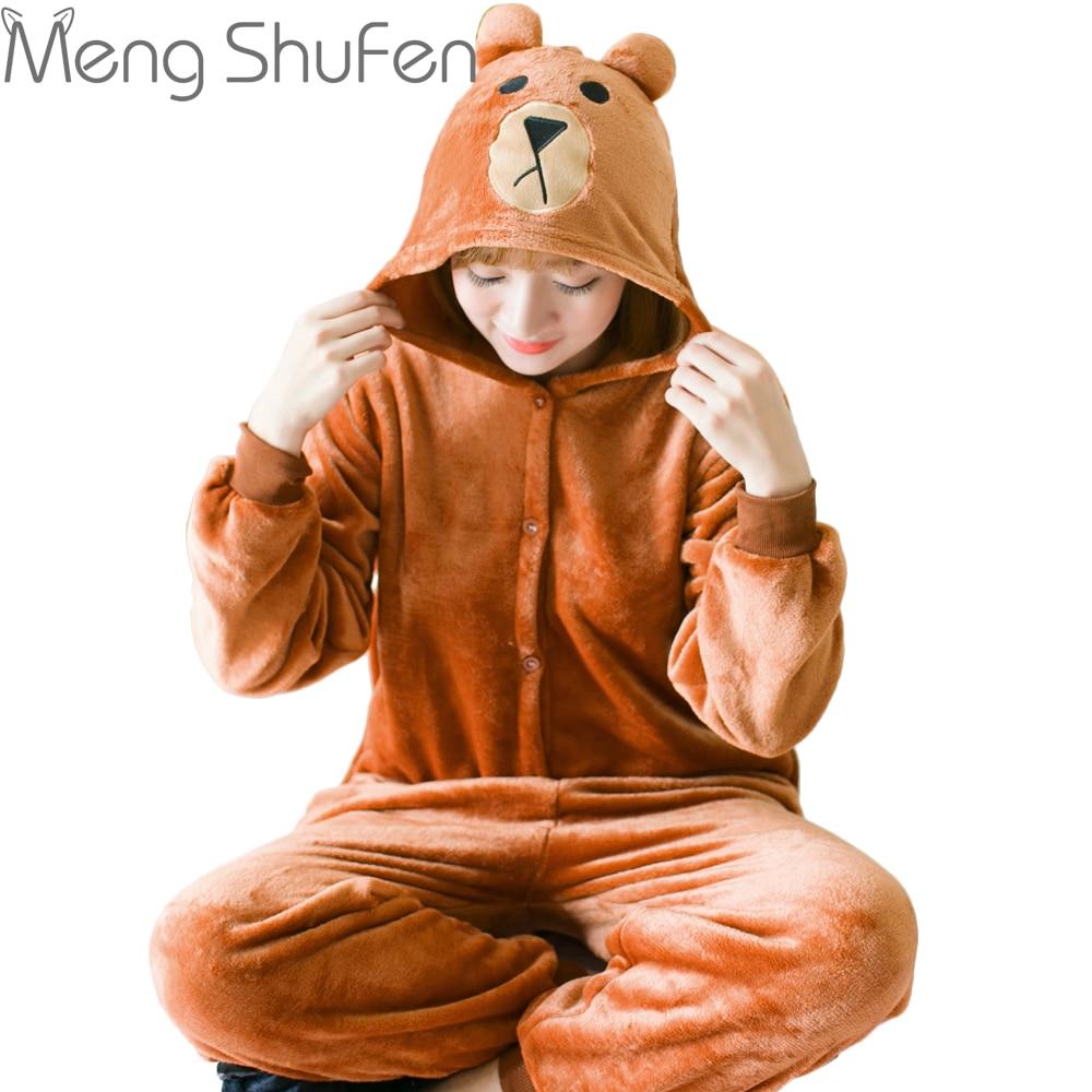 Brown bear Pajamas Sets Winter Autumn Sleepwear Unisex Adult Flannel Hooded Pajamas Cartoon Animal Onesie For Women Men Girls