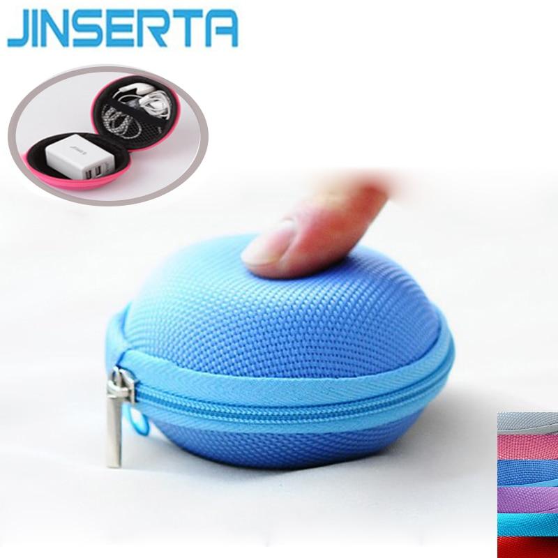 JINSERTA Round Storage Hard Bag Earphone Bag Waterproof Headset Storage Bag Portable Carrying Case For Headphone Accessories