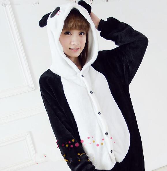 Wholesale-Adults Flannel Pyjamas Cute Cartoon Animal Panda Pajamas Cosplay Party Costume Sleepwear For Men Women