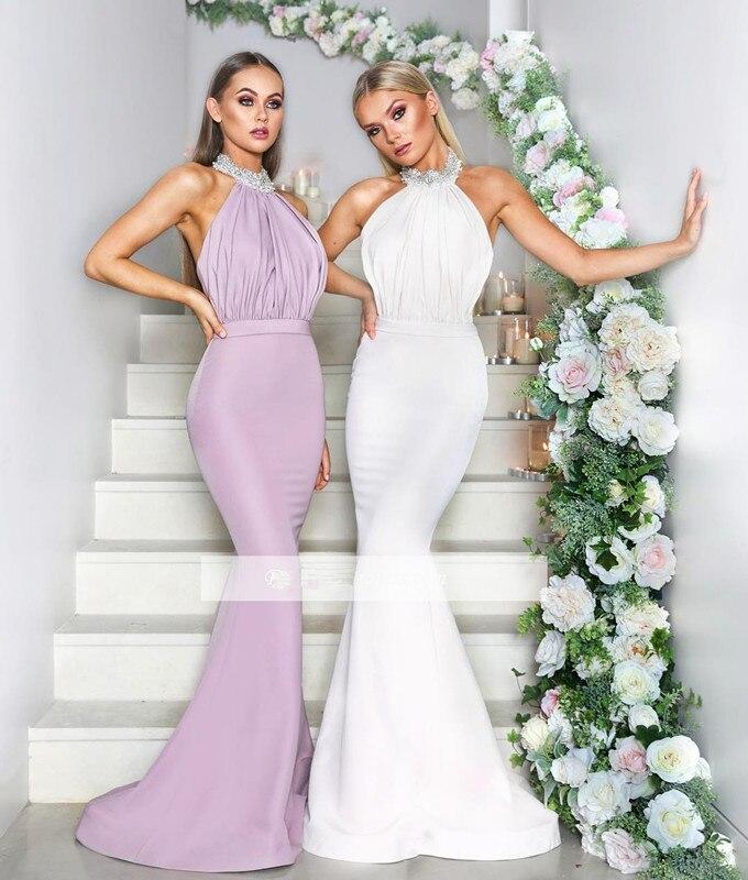 Elegant 2019 Cheap   Bridesmaid     Dresses   Under 50 Mermaid Halter Beaded Long Wedding Party   Dresses   For Women