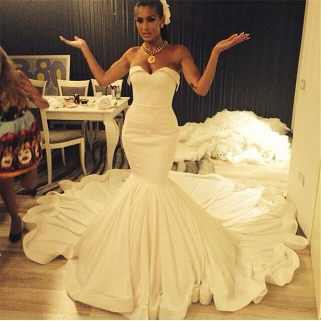 African Arabic Sweetheart Ruched Pleats Satin Ivory Mermaid Wedding ...