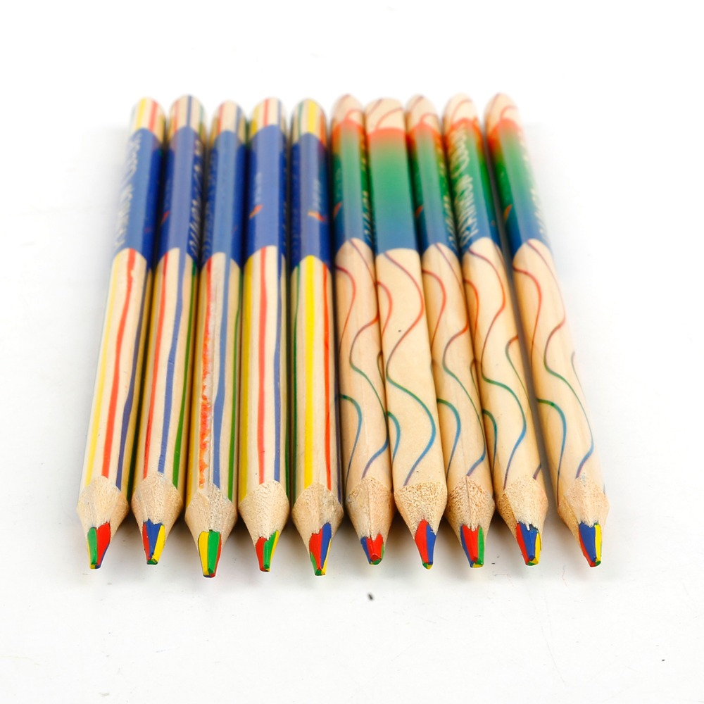 10pcs DIY Cute Kawaii Wooden Colored Pencil Wood Rainbow Color Pencil For Kid School Graffiti Drawing Painting
