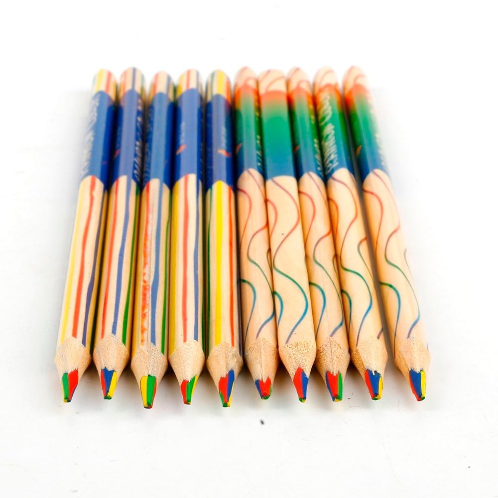 10pcs DIY Cute Kawaii Wooden Colored Pencil Wood Rainbow Color Pencil For Kid School Graffiti Drawing Painting