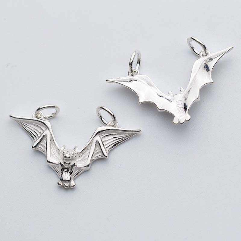 Personality Bat Model Silver Charms For Men Women 925 Sterling Silver Necklace Connector Pendants DIY Jewelry Making Findings